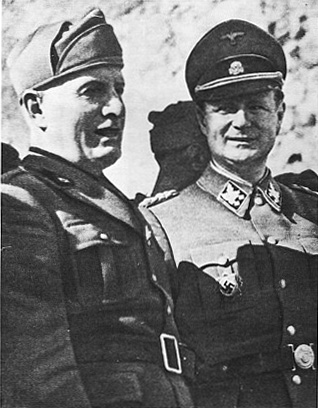 SS Obergruppenfuhrer Karl Wolff with Benito Mussolini.